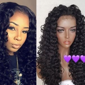 """🖤 RACHELLE 28""""BLACK CURLY KINKY LACEFRONT WIG NWT"""